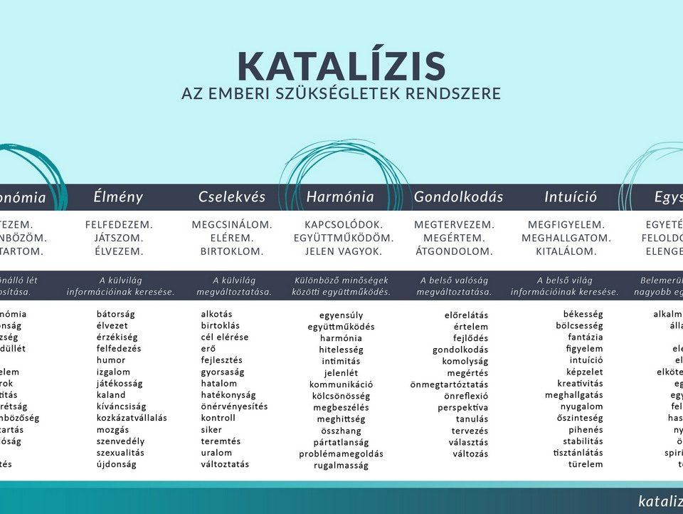 Szükségletek listája. Katalízis - motivációs modell, alapmotívumok, motívációs elmélet.